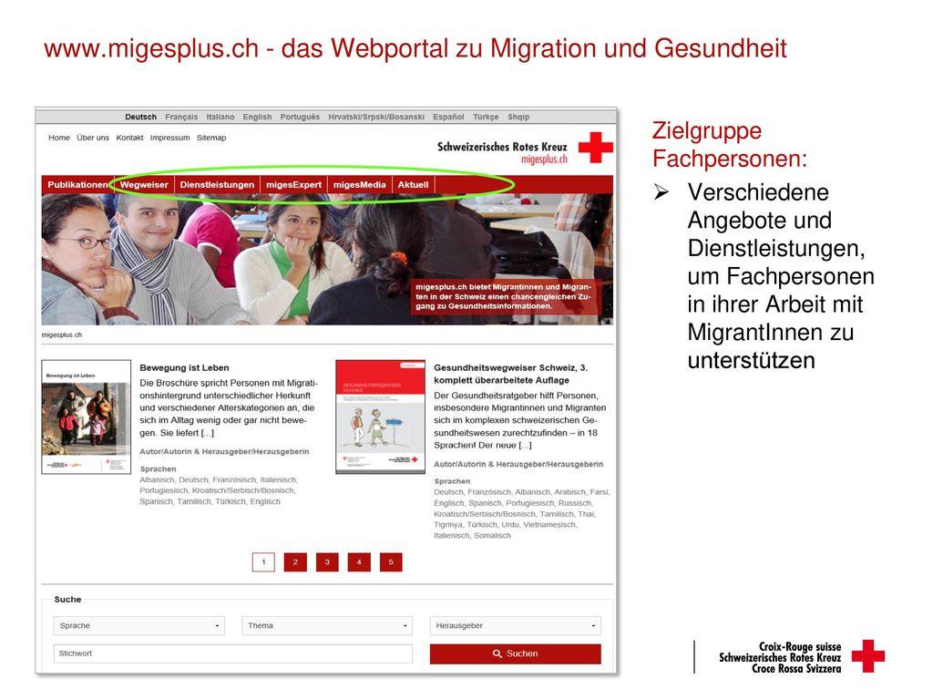 www.migesplus.ch - das Webportal zu Migration und Gesundheit