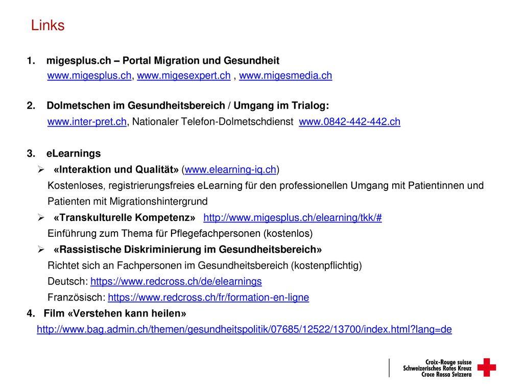 Links migesplus.ch – Portal Migration und Gesundheit