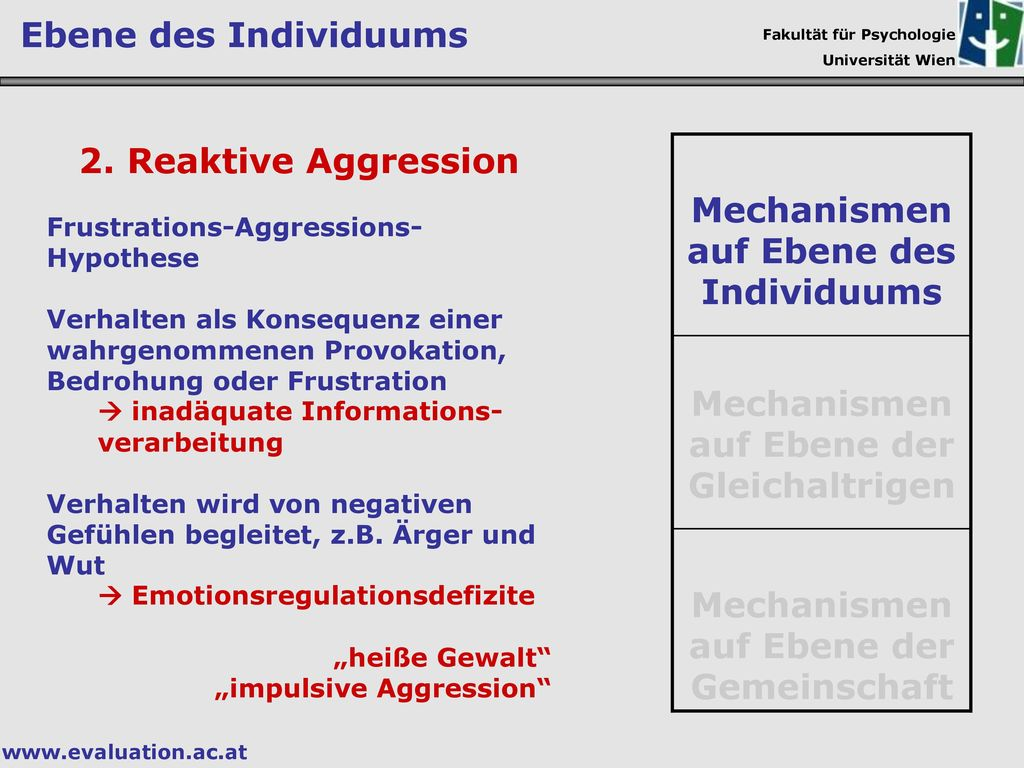 Mechanismen auf Ebene des Individuums