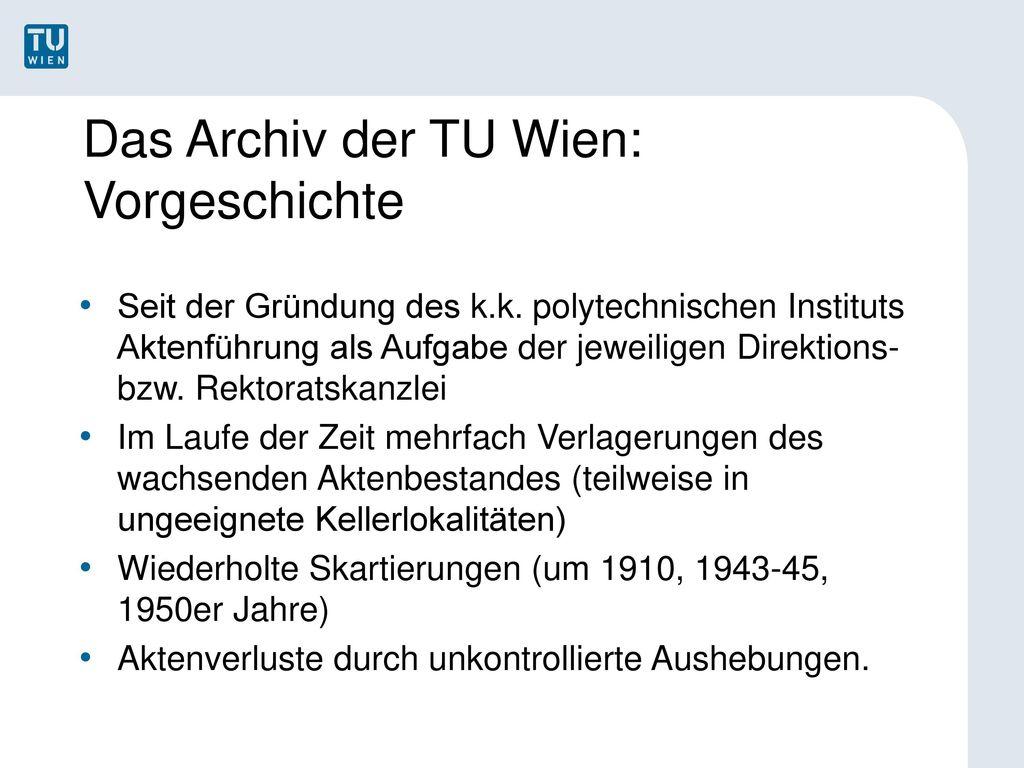 Das Archiv der TU Wien: Vorgeschichte