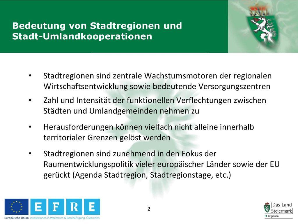 Bedeutung von Stadtregionen und Stadt-Umlandkooperationen