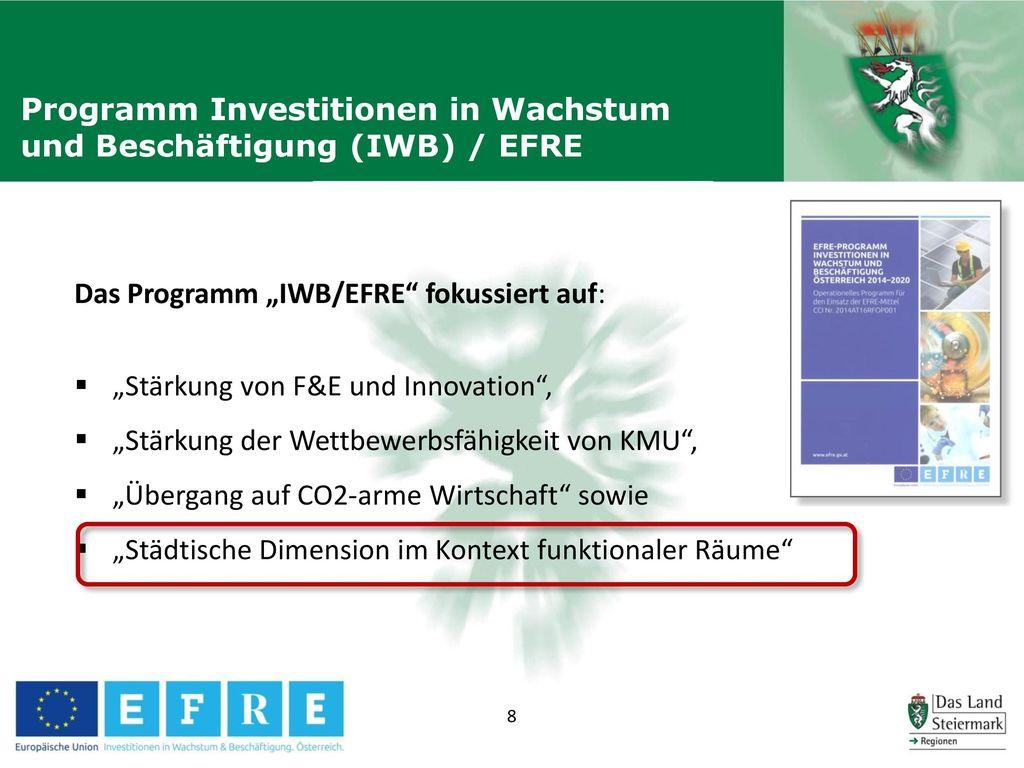 Programm Investitionen in Wachstum und Beschäftigung (IWB) / EFRE