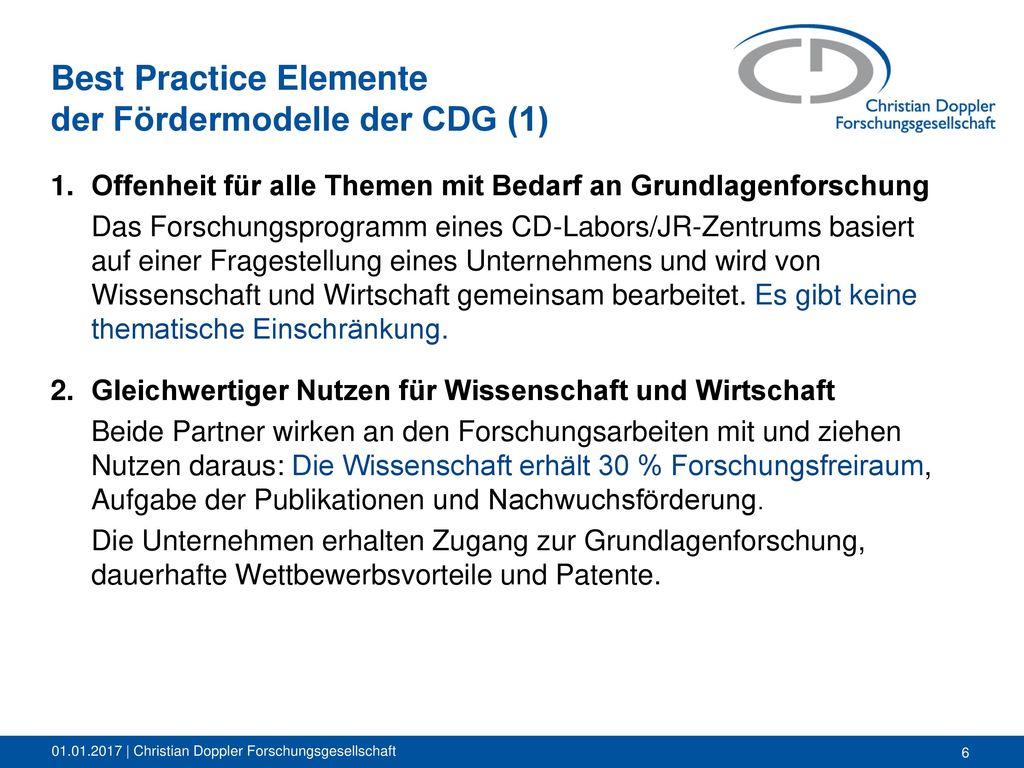 Best Practice Elemente der Fördermodelle der CDG (1)