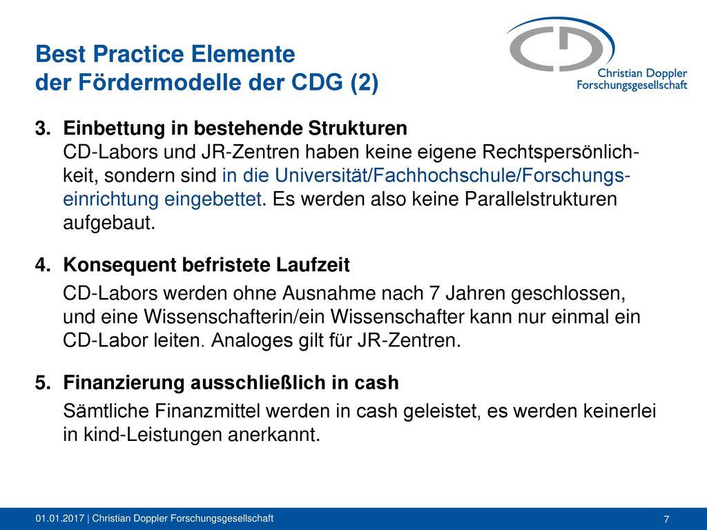 Best Practice Elemente der Fördermodelle der CDG (2)