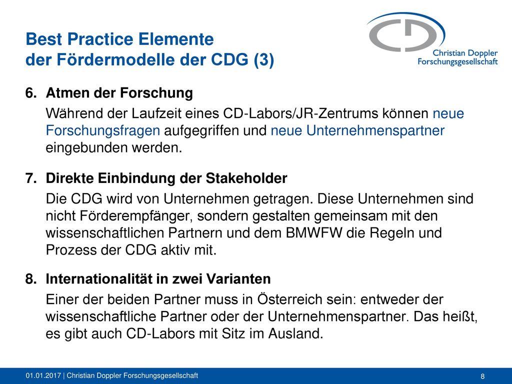Best Practice Elemente der Fördermodelle der CDG (3)