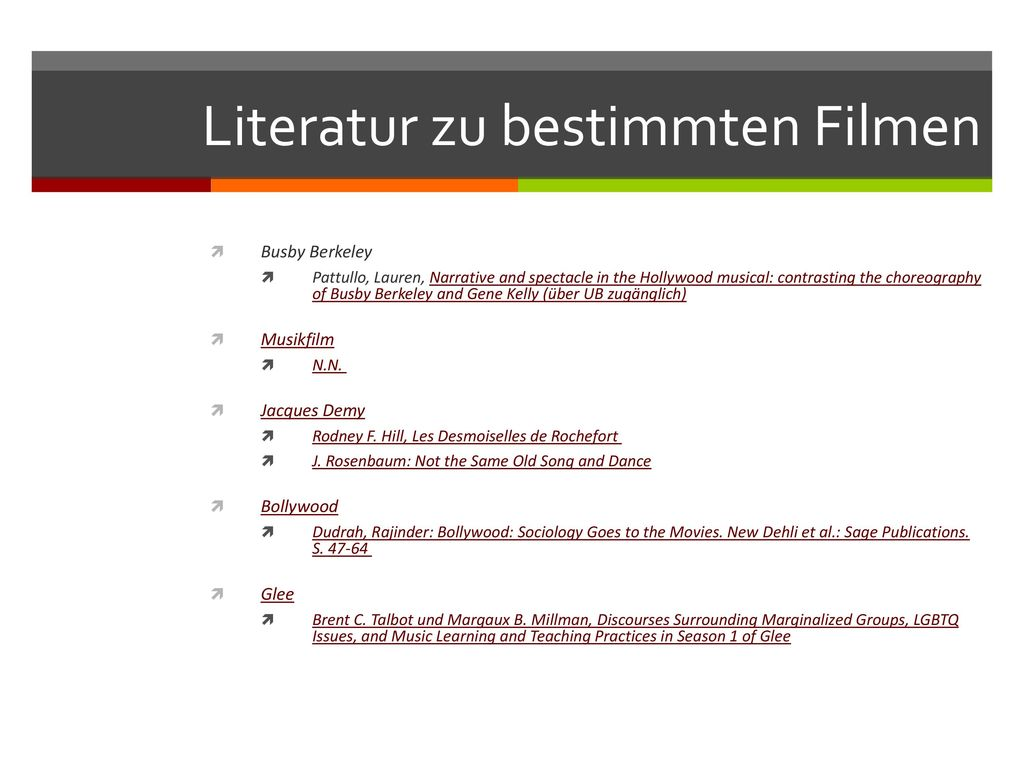 Literatur zu bestimmten Filmen