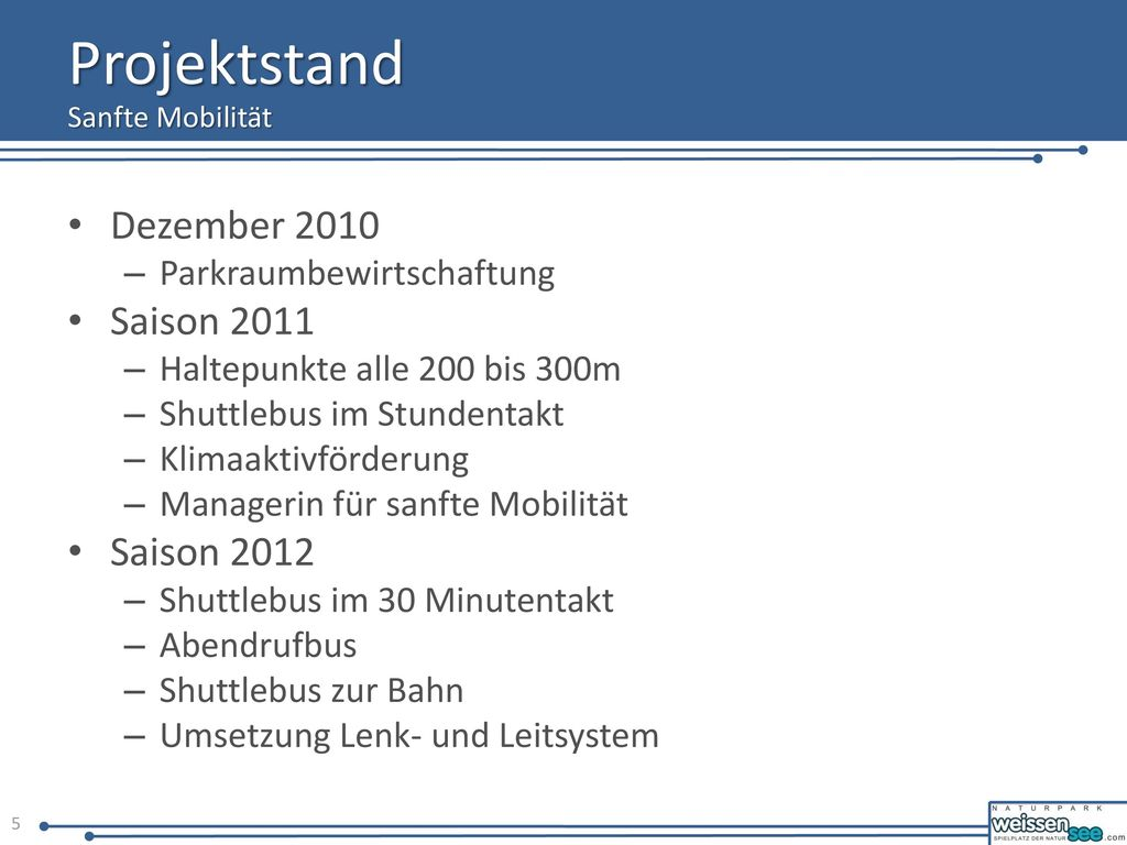 Projektstand Dezember 2010 Saison 2011 Saison 2012