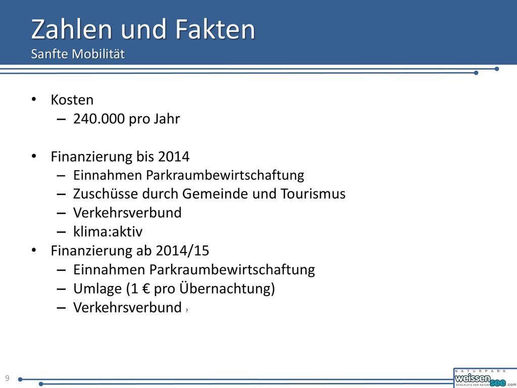 Zahlen und Fakten Kosten 240.000 pro Jahr Finanzierung bis 2014