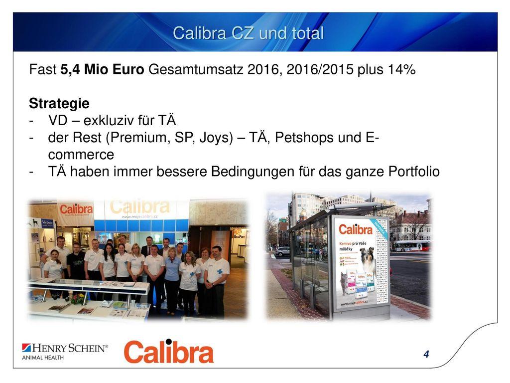 Calibra CZ und total Fast 5,4 Mio Euro Gesamtumsatz 2016, 2016/2015 plus 14% Strategie. VD – exkluziv für TÄ.