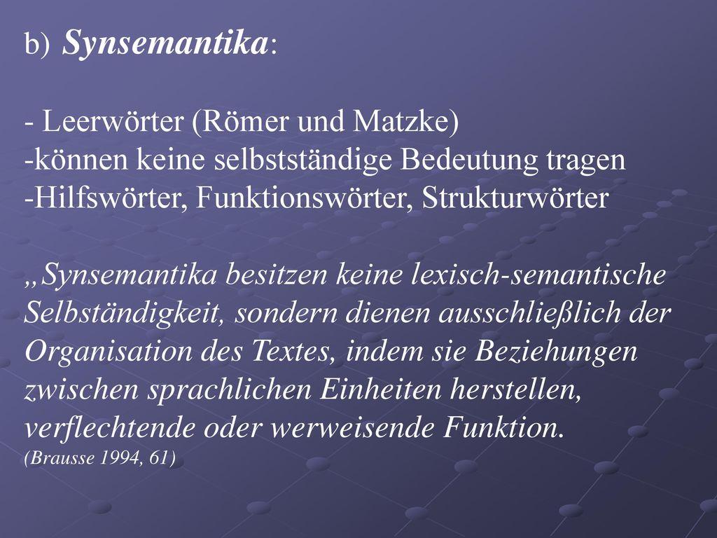 - Leerwörter (Römer und Matzke)