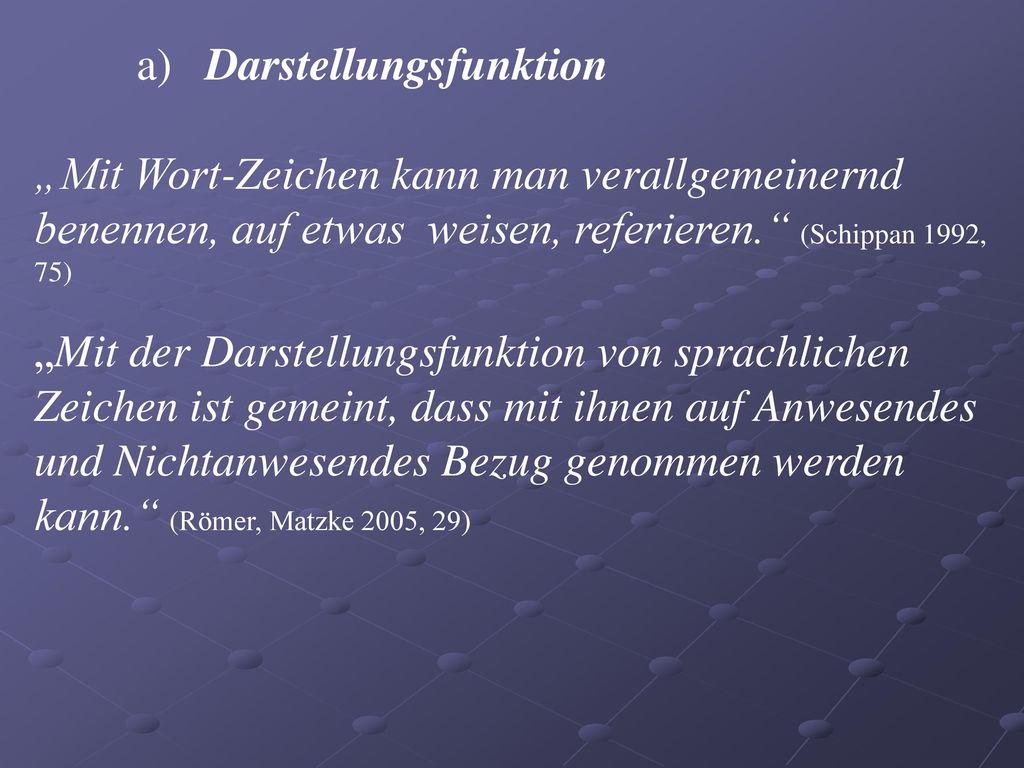 a) Darstellungsfunktion