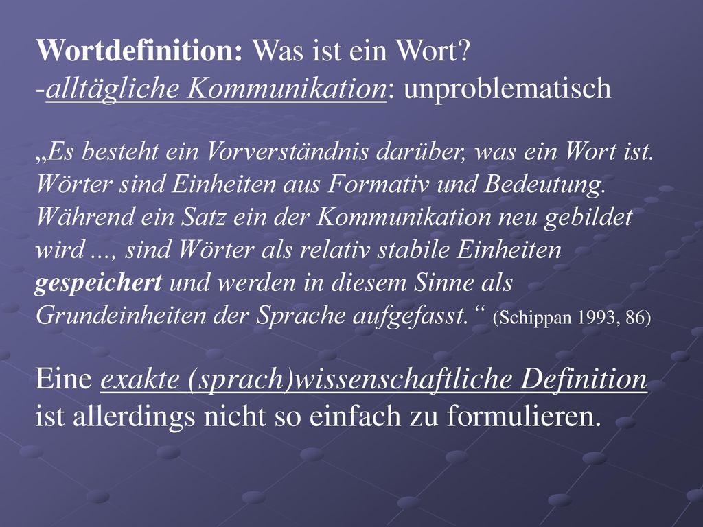Wortdefinition: Was ist ein Wort