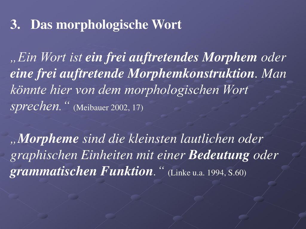 3. Das morphologische Wort