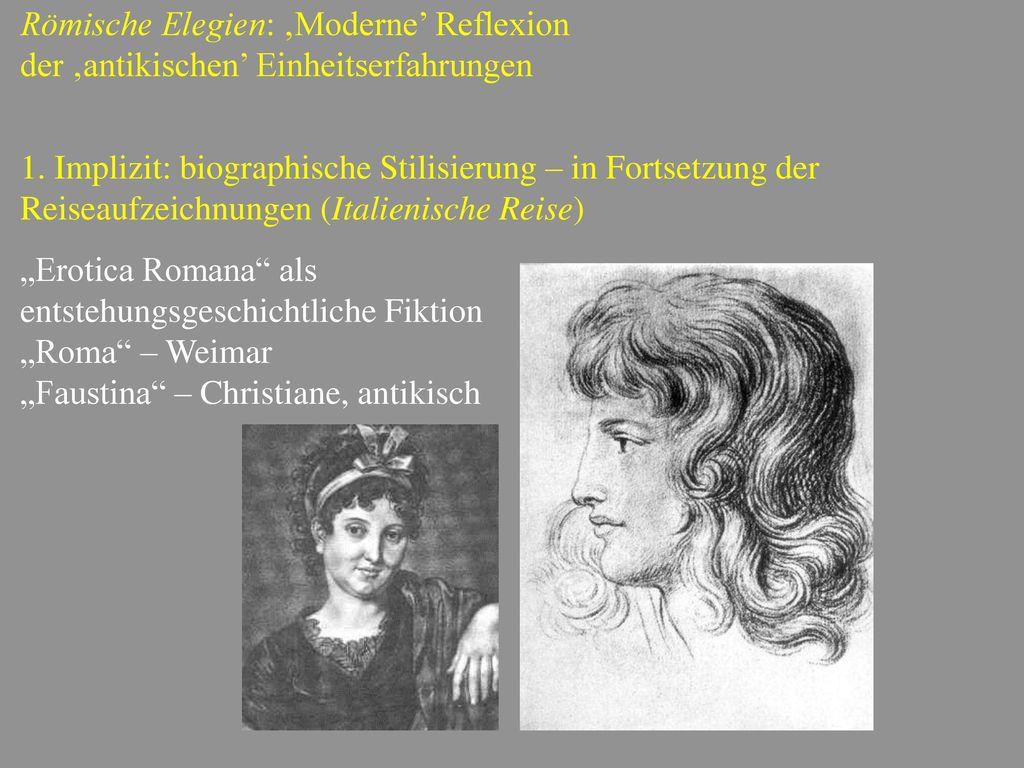 Römische Elegien: 'Moderne' Reflexion