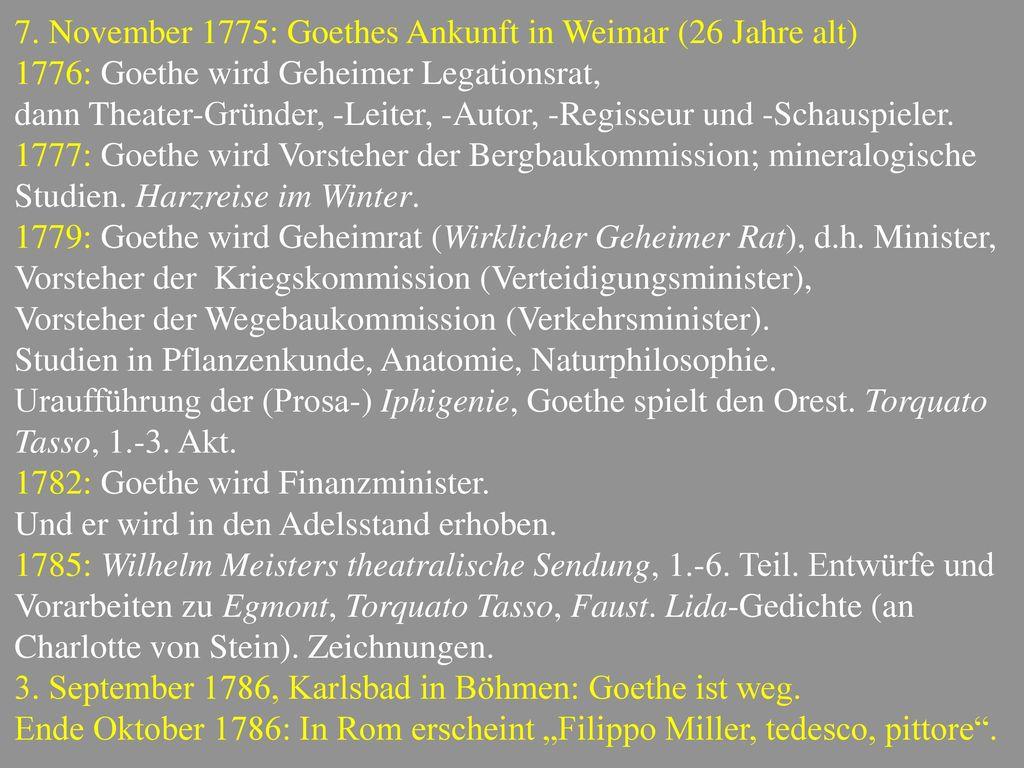 7. November 1775: Goethes Ankunft in Weimar (26 Jahre alt)