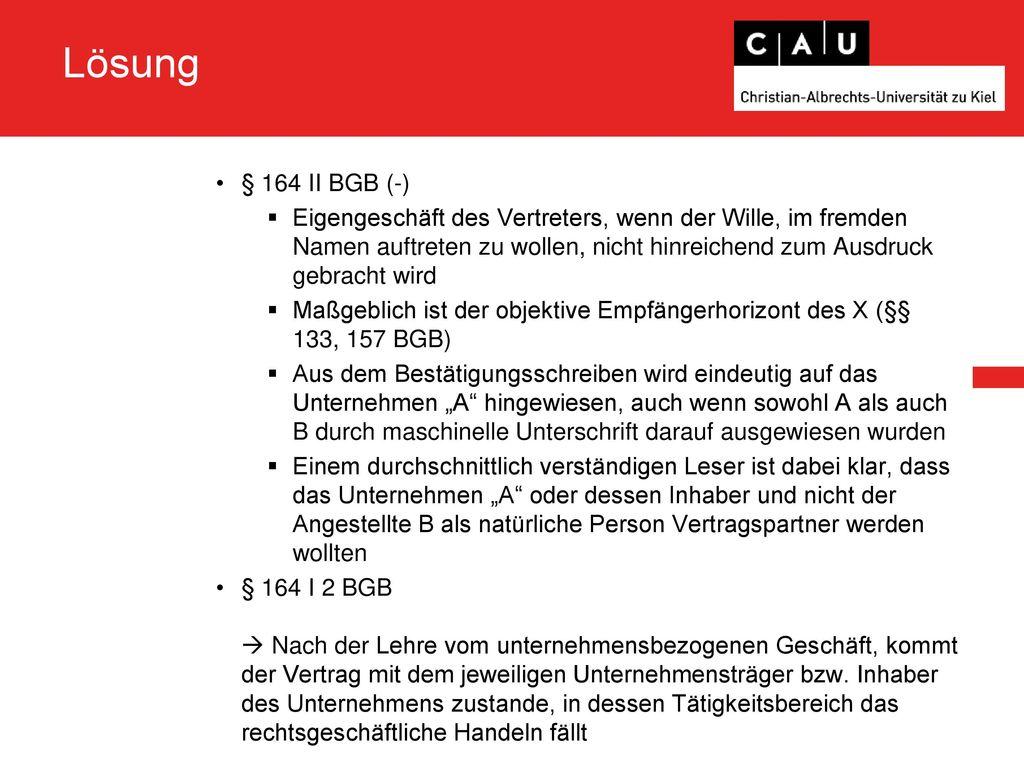 Lösung § 164 II BGB (-)