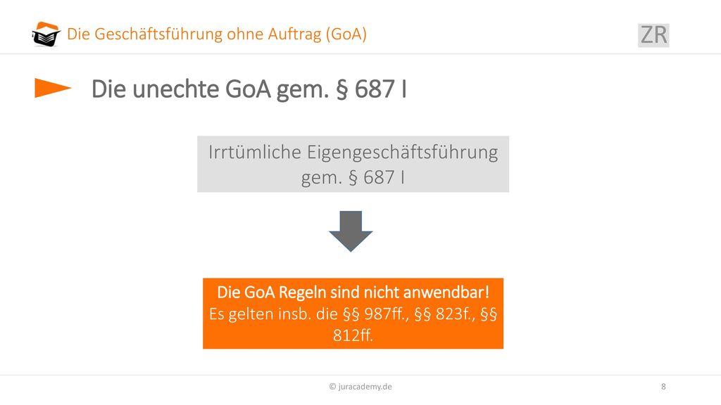 Die Geschäftsführung ohne Auftrag (GoA)