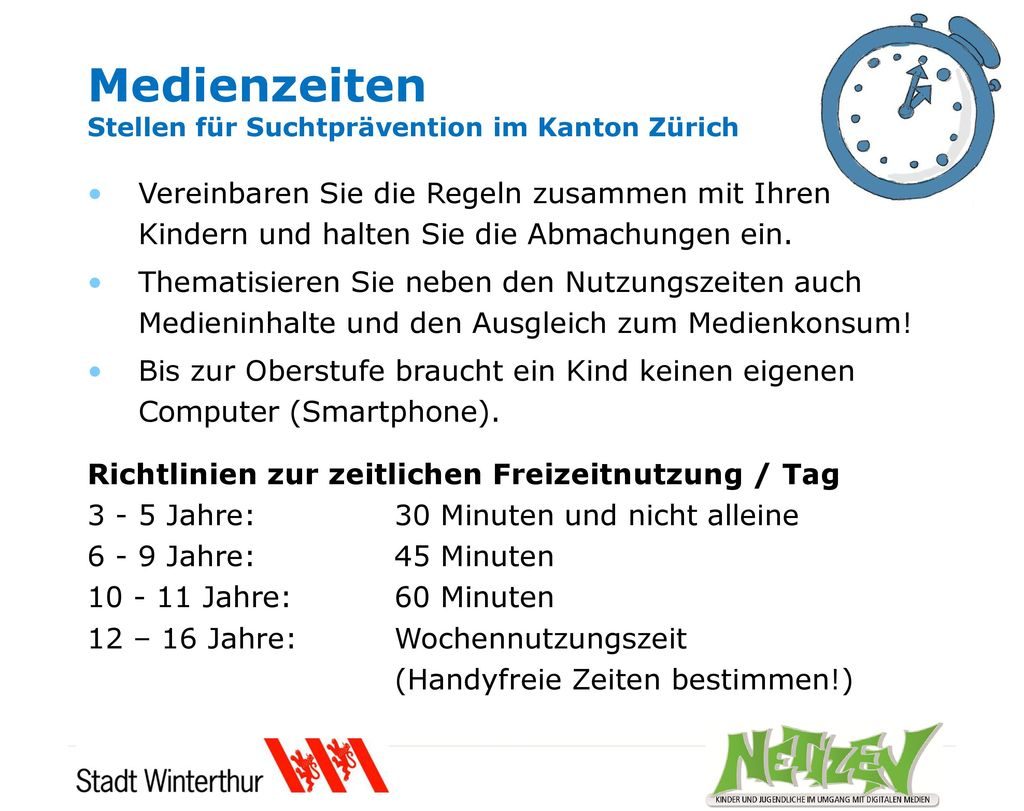 Medienzeiten Stellen für Suchtprävention im Kanton Zürich