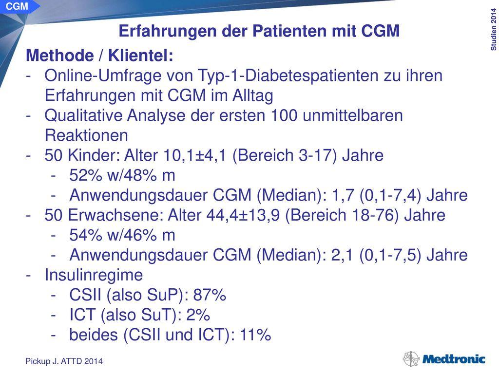 Erfahrungen der Patienten mit CGM