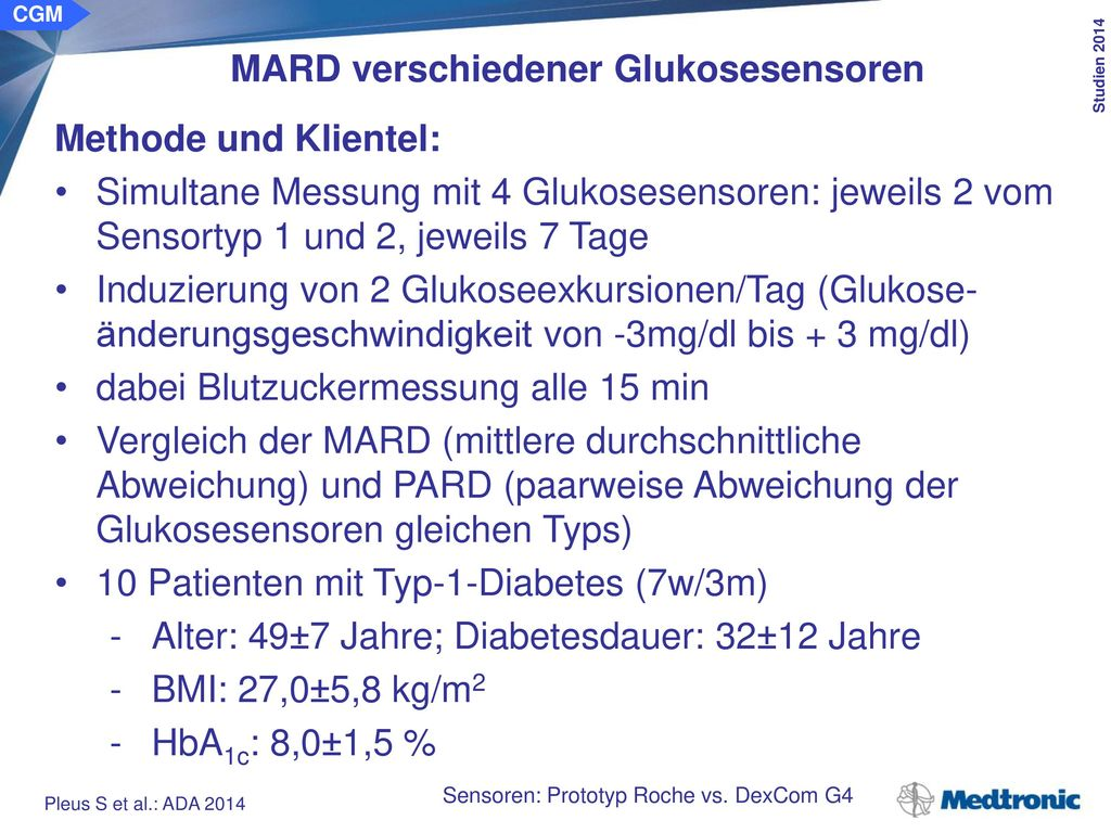MARD verschiedener Glukosesensoren