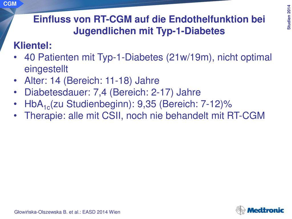 CGM Einfluss von RT-CGM auf die Endothelfunktion bei Jugendlichen mit Typ-1-Diabetes. Ergebnisse: