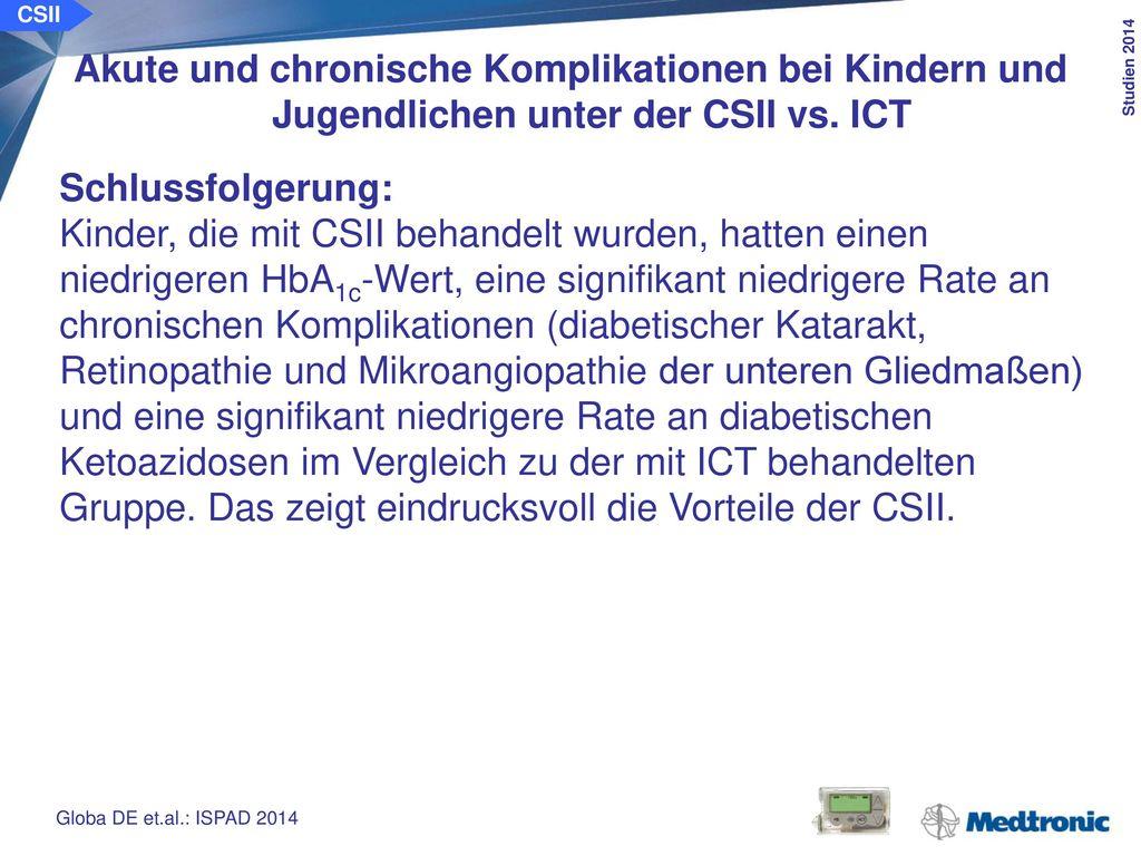 CSII Herz-Kreislauf-Erkrankungen und Mortalität von Patienten mit Typ-1-Diabetes unter der CSII vs. ICT.