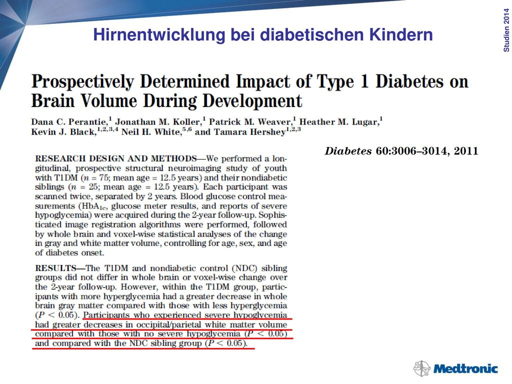 Hirnentwicklung bei diabetischen Kindern