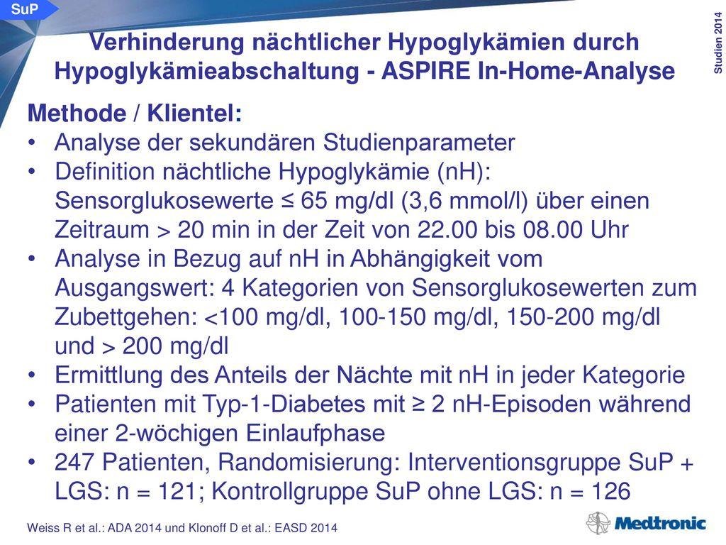 SuP Verhinderung nächtlicher Hypoglykämien durch Hypoglykämieabschaltung - ASPIRE In-Home-Analyse. Ergebnisse: