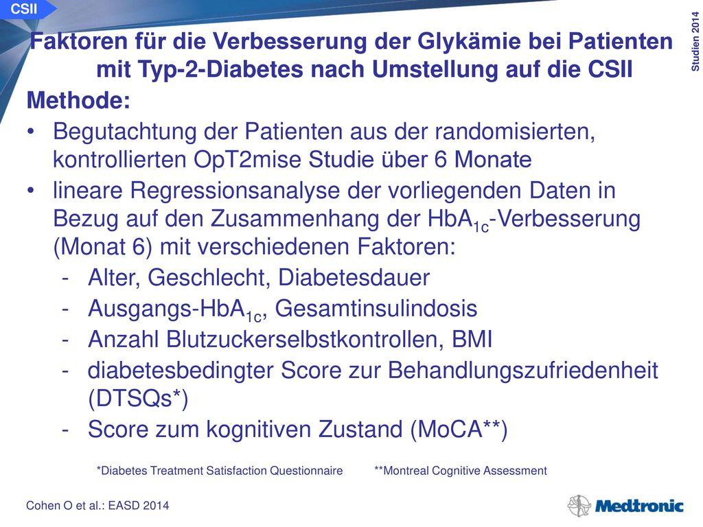CSII Faktoren für die Verbesserung der Glykämie bei Patienten mit Typ-2-Diabetes nach Umstellung auf die CSII.