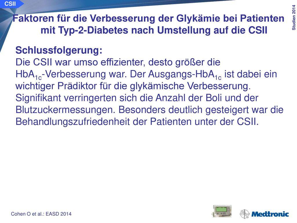CSII Glukoseprofile von Patienten mit Typ-2-Diabetes unter der CSII vs. ICT: OpT2mise-Studie. Ziel der Studie:
