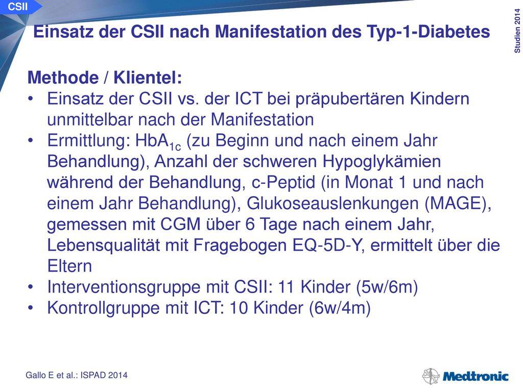 Einsatz der CSII nach Manifestation des Typ-1-Diabetes