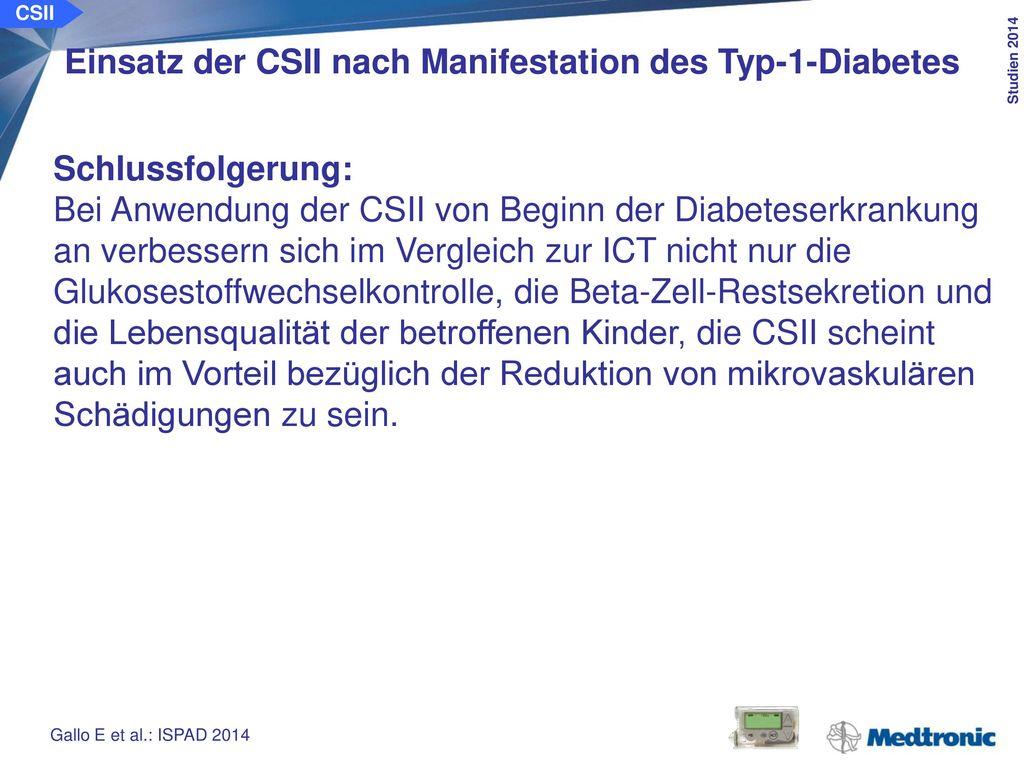 CSII Vergleich der Ergebnisse von Kindern und Jugendlichen zum sofortigen oder späteren Einsatz der CSII.