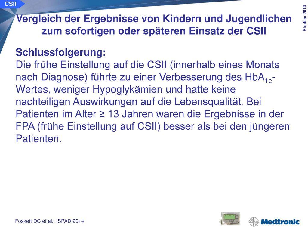 CSII Behandlungsqualität von Kindern und Jugendlichen unter der CSII vs. ICT, eingewiesen zur Rehabilitation.
