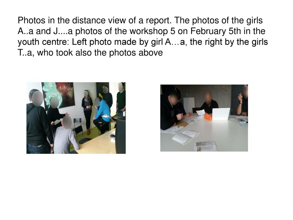 Photos in the distance view of a report. The photos of the girls A