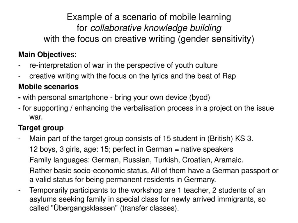 Example of a scenario of mobile learning for collaborative knowledge building with the focus on creative writing (gender sensitivity)