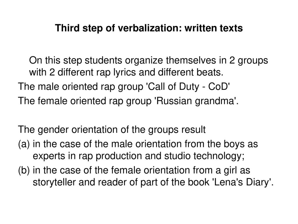 Third step of verbalization: written texts