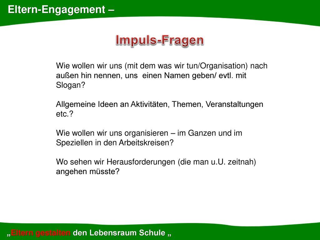Impuls-Fragen Eltern-Engagement –