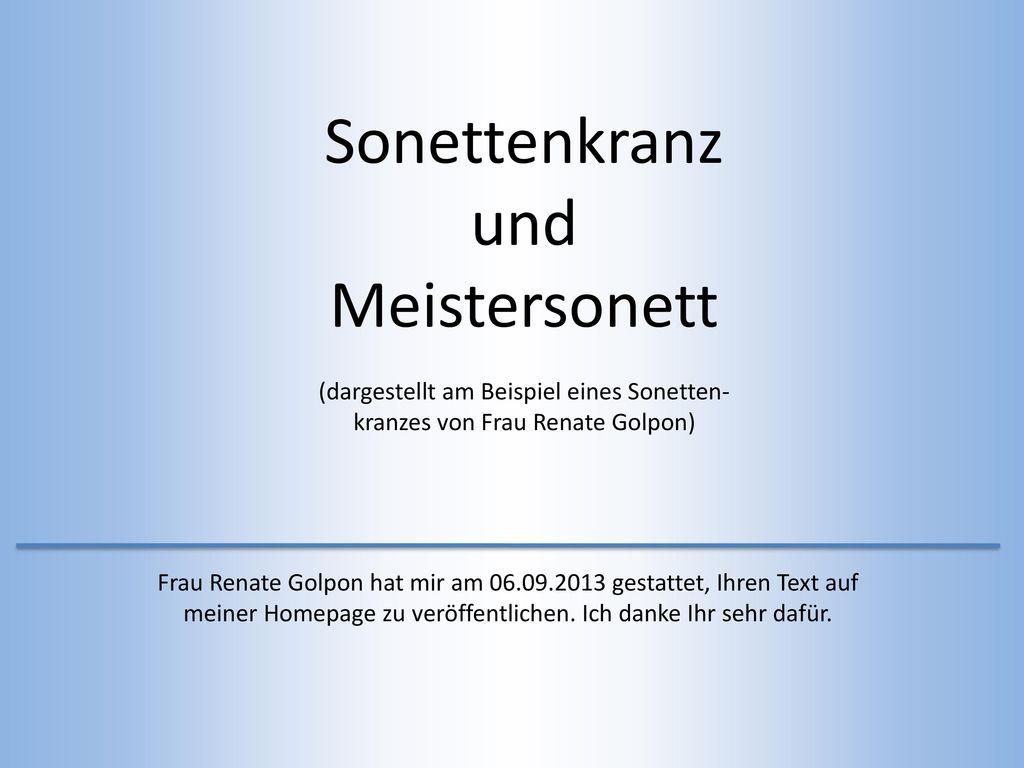 Sonettenkranz und Meistersonett