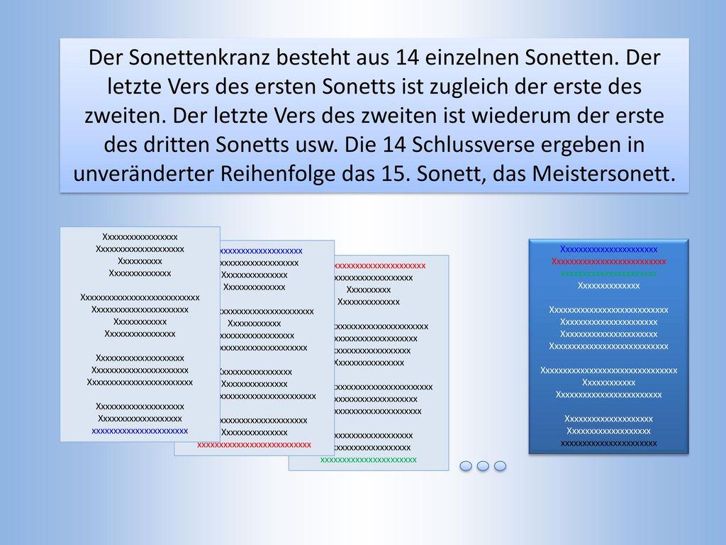 Der Sonettenkranz besteht aus 14 einzelnen Sonetten