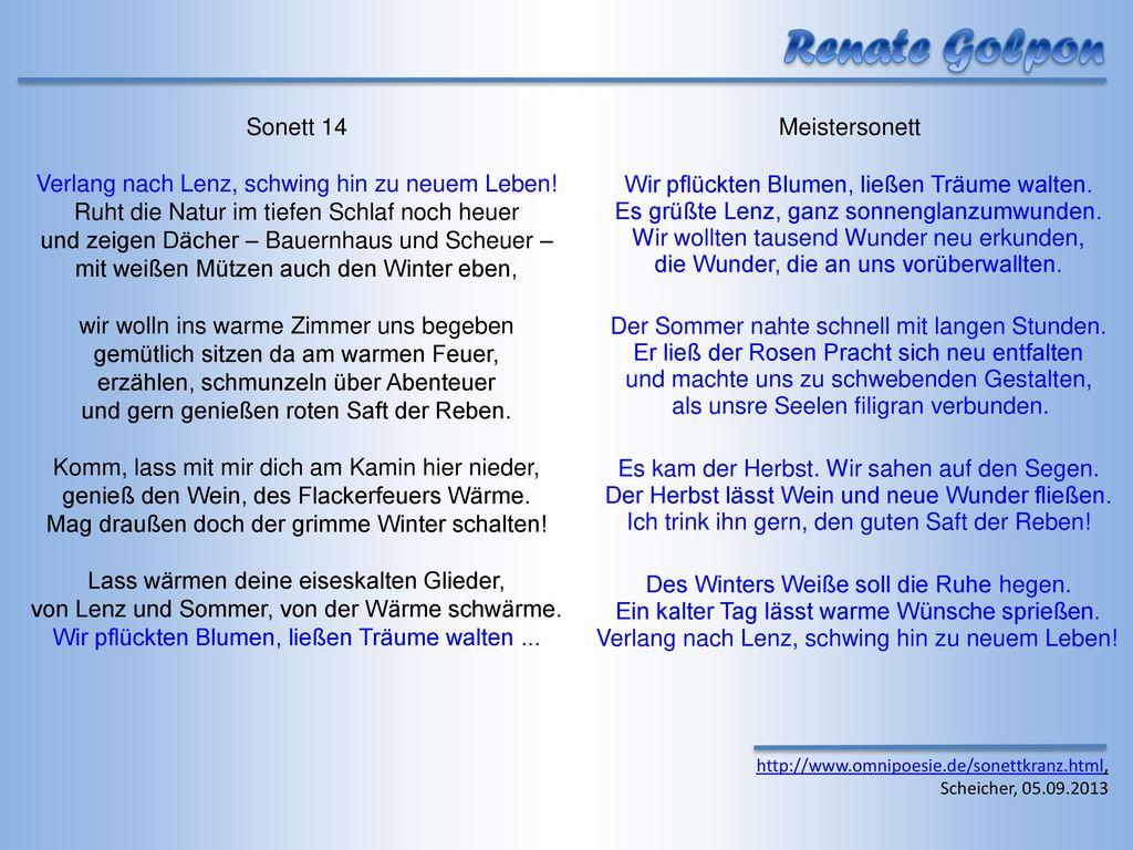 Renate Golpon Sonett 14 Verlang nach Lenz, schwing hin zu neuem Leben!