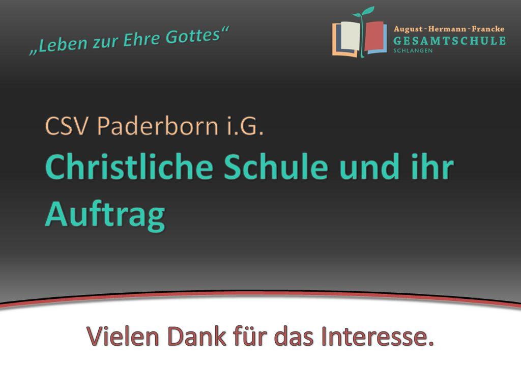 CSV Paderborn i.G. Christliche Schule und ihr Auftrag