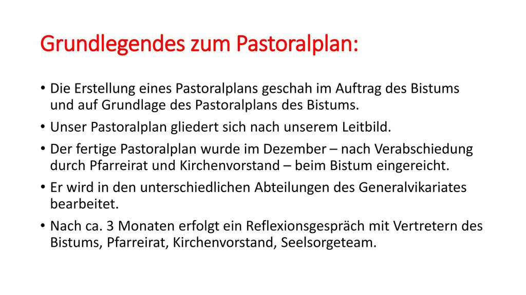 Grundlegendes zum Pastoralplan: