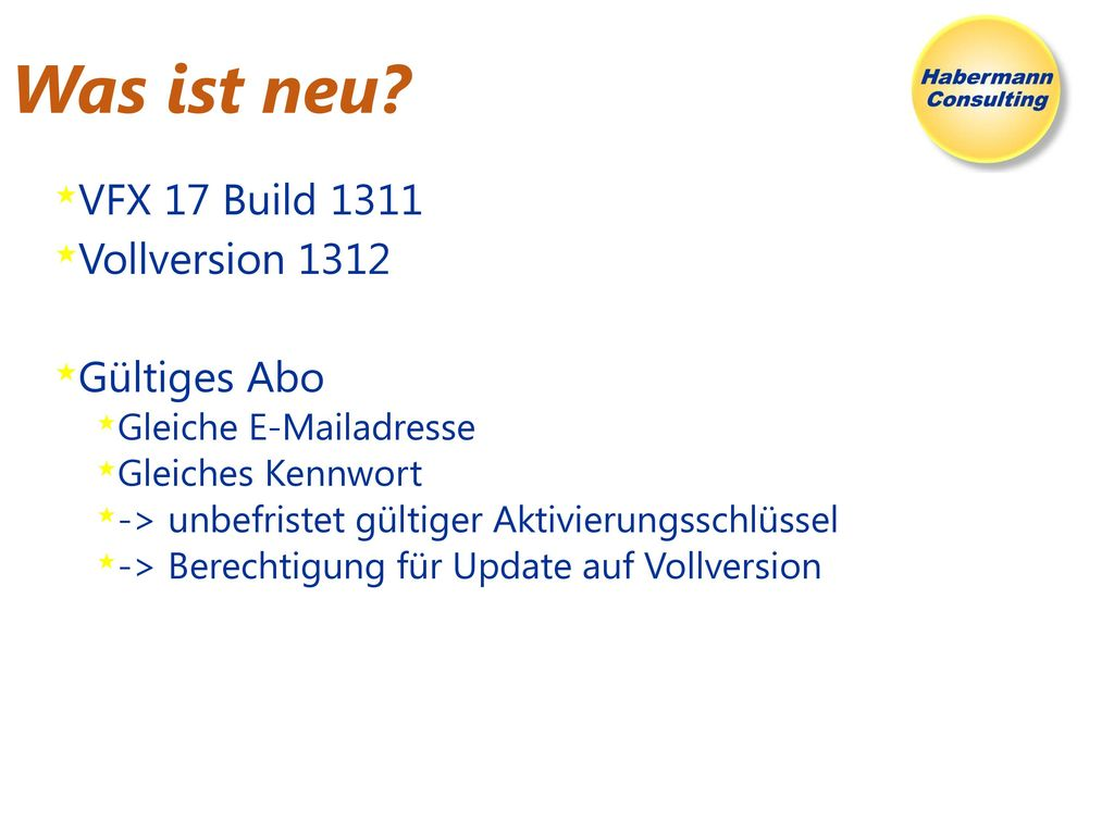 Was ist neu VFX 17 Build 1311 Vollversion 1312 Gültiges Abo