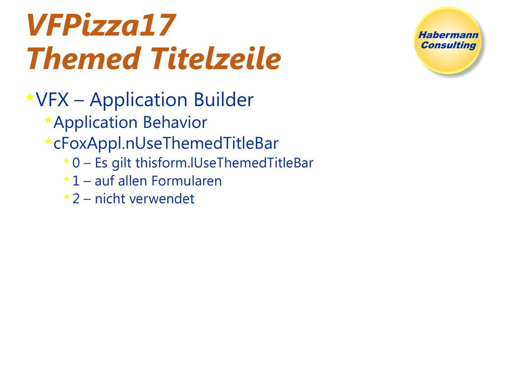 VFPizza17 Themed Titelzeile
