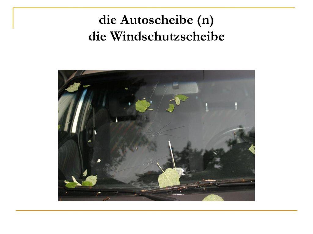 die Autoscheibe (n) die Windschutzscheibe