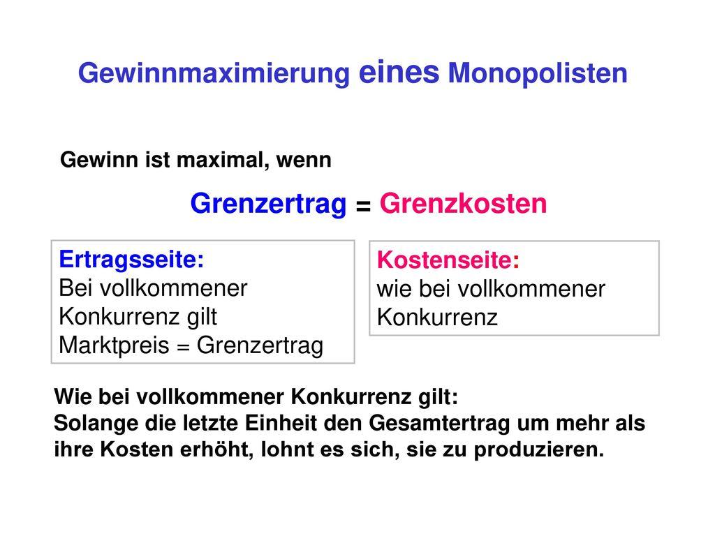Gewinnmaximierung eines Monopolisten Grenzertrag = Grenzkosten