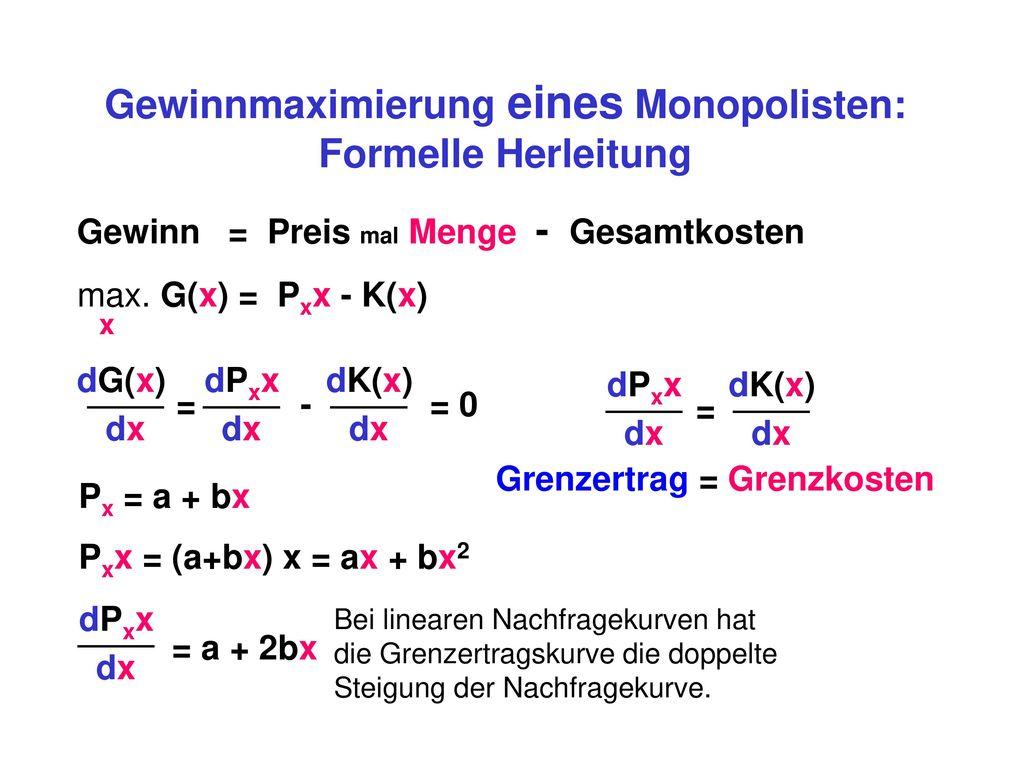 Gewinnmaximierung eines Monopolisten: Grenzertrag = Grenzkosten