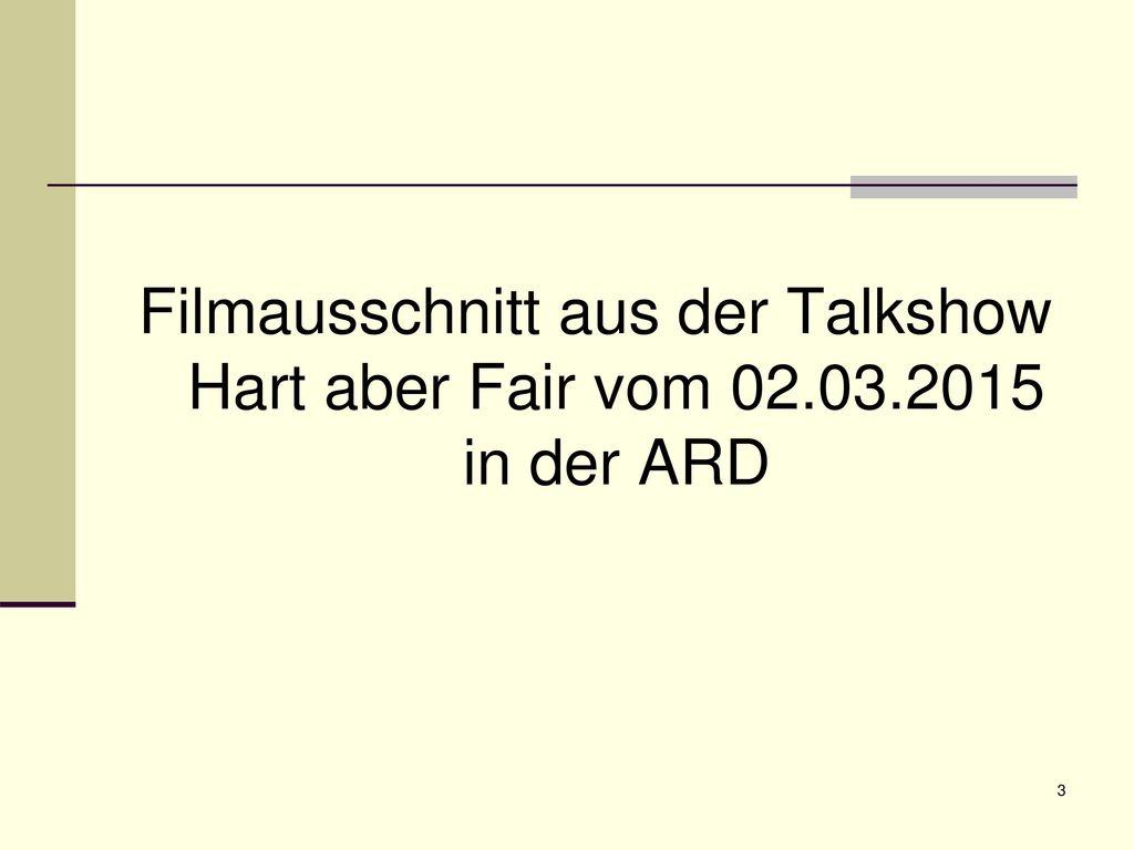 Filmausschnitt aus der Talkshow Hart aber Fair vom 02. 03
