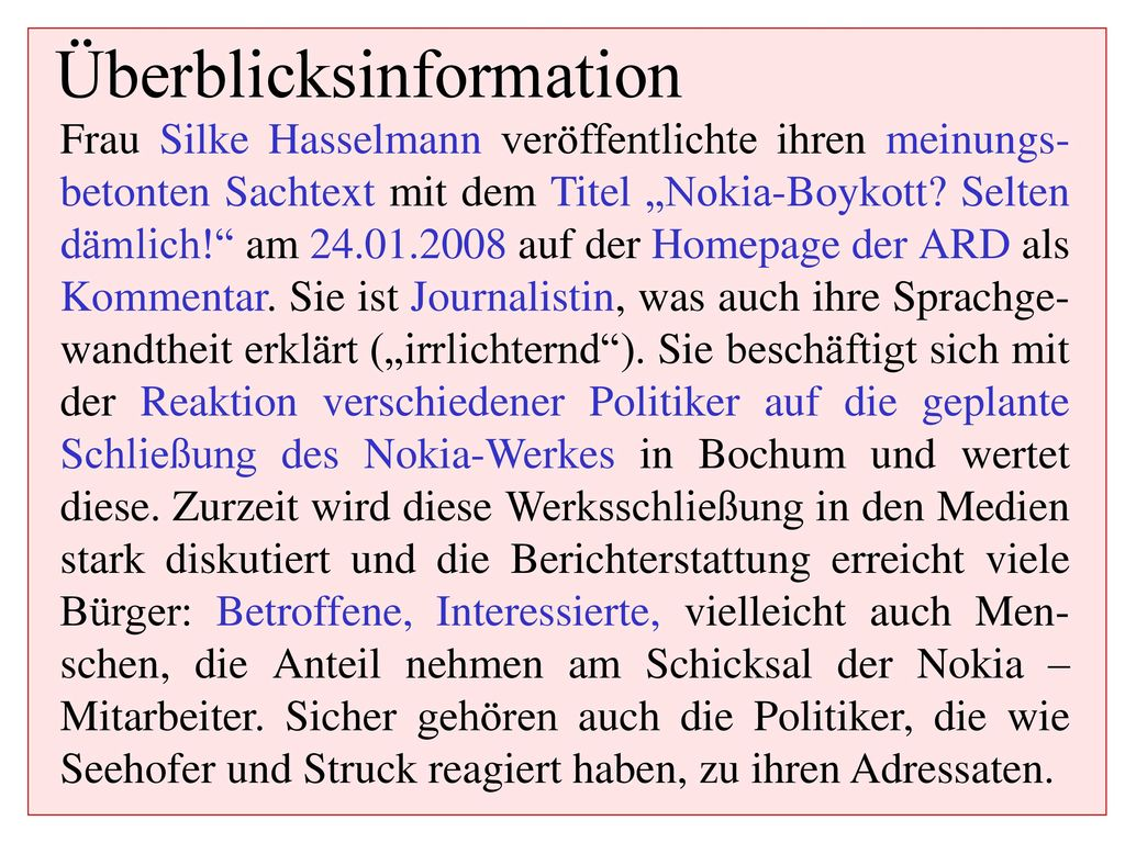Überblicksinformation