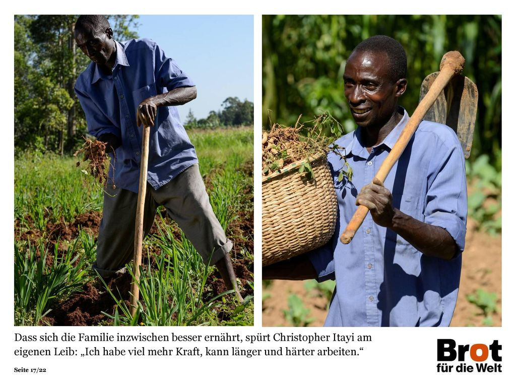 """Dass sich die Familie inzwischen besser ernährt, spürt Christopher Itayi am eigenen Leib: """"Ich habe viel mehr Kraft, kann länger und härter arbeiten."""